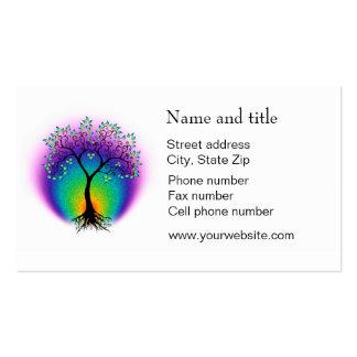 El árbol del arco iris de la vida conecta con su c tarjetas de visita