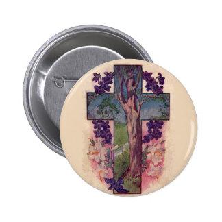 El árbol del botón del cristiano de la cruz de la pins