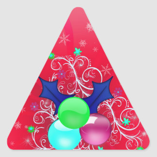 El árbol del día de fiesta de las Felices Navidad Calcomanías De Triangulos