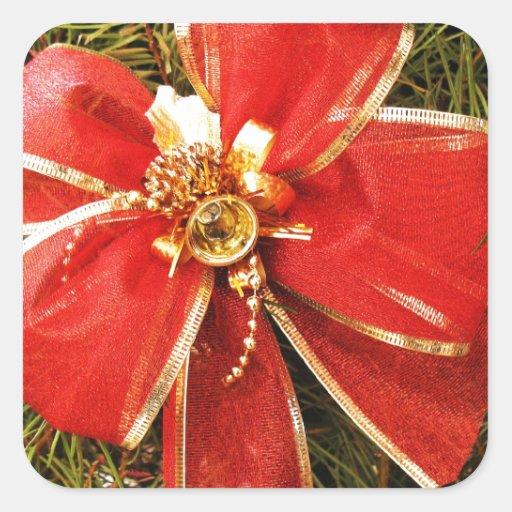 El árbol del día de fiesta de las Felices Navidad Pegatina Cuadrada