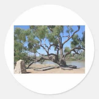 El árbol del empuje pegatinas redondas