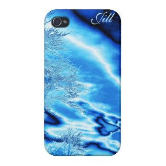 El árbol del hielo y el iPhone azules del cielo en iPhone 4/4S Fundas