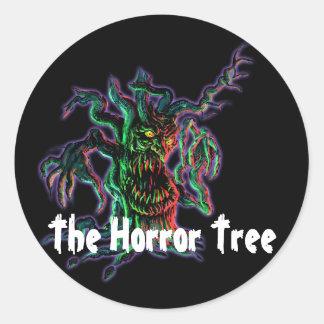 El árbol del horror pegatina redonda