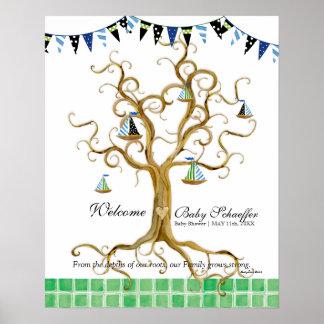 El árbol del remolino arraiga al bebé del banderín posters