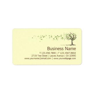 El árbol del viento del zen con negocio de las etiquetas de dirección