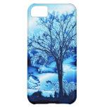 El árbol en caja azul del iPhone 5 del hielo