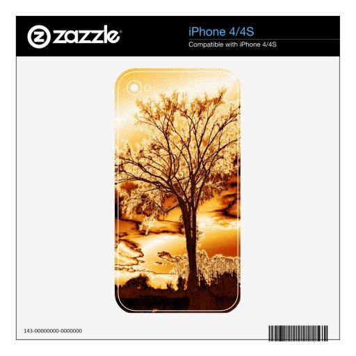 El árbol en piel fundida del iPhone 4/4S del oro iPhone 4 Calcomanía