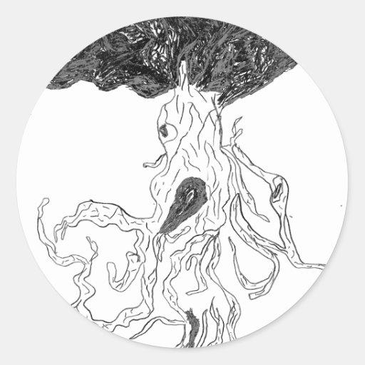 El árbol enojado pegatina redonda
