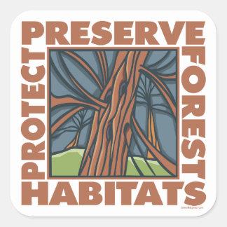 El árbol Hugger, protege bosques Calcomanías Cuadradass Personalizadas