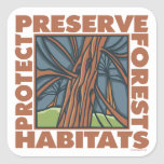 El árbol Hugger, protege bosques Pegatina Cuadrada