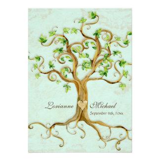 El árbol moderno del remolino arraiga el pergamino invitaciones personales
