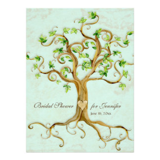El árbol moderno del remolino arraiga el pergamino anuncio