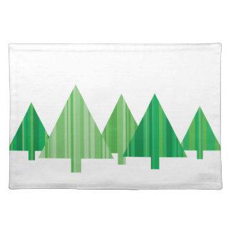 El árbol raya el navidad Placemat (blanco) Manteles Individuales
