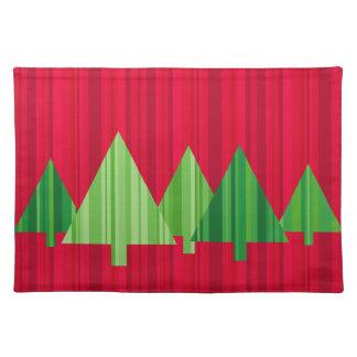 El árbol raya el navidad Placemat (rojo) Manteles