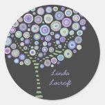 El árbol retro azul del círculo le agradece etiquetas redondas