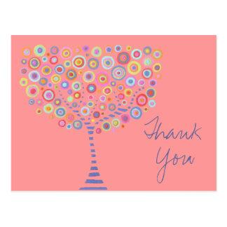 El árbol retro rosado del círculo le agradece tarjetas postales