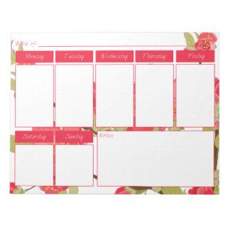 El árbol rosado florece libreta del calendario bloc de notas