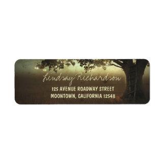el árbol rústico enciende casar etiquetas del remi etiqueta de remite