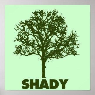 El árbol sombrío VA humor verde Posters