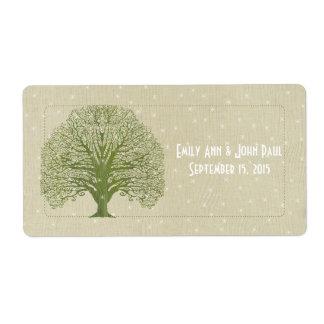 El árbol verde oliva del remolino en las estrellas etiquetas de envío