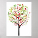 El árbol verde rojo y el poster lindo de los pájar