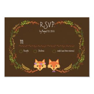 """El arbolado caprichoso Foxes casar RSVP Invitación 3.5"""" X 5"""""""