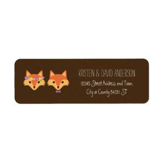El arbolado caprichoso Foxes el boda Etiqueta De Remitente