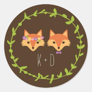 El arbolado caprichoso Foxes el boda Pegatinas Redondas