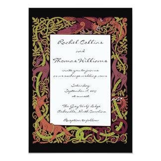 El arbolado entona los animales célticos que casan invitación 12,7 x 17,8 cm