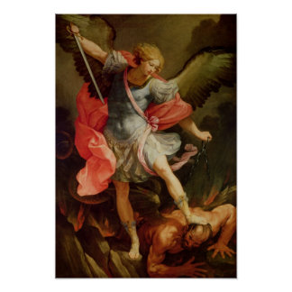 El arcángel Michael que derrota Satan Póster