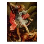 El arcángel Michael que derrota Satan Tarjetas Postales