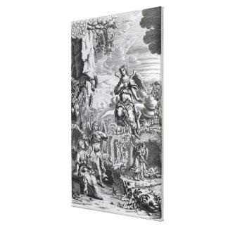 El arcángel Uriel informa a Gabriel Impresión En Lona Estirada