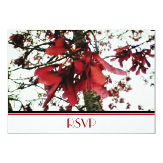 """El arce rojo cierra RSVP botánico Invitación 3.5"""" X 5"""""""