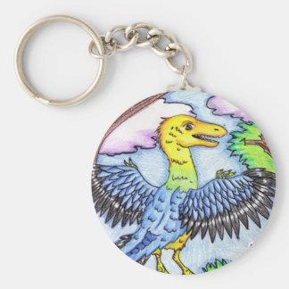 El archaeopteryx llavero redondo tipo pin