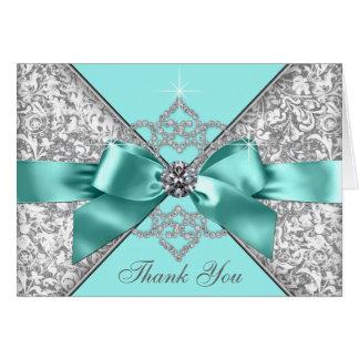 El arco azul del diamante del trullo le agradece tarjeta pequeña