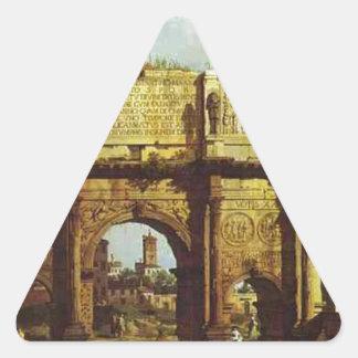 El arco de Constantina de Bernardo Bellotto Pegatina Triangular