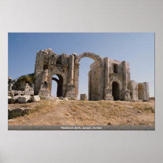 El arco de Hadrian, Jerash, Jordania Póster