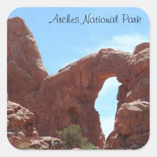 El arco de la torrecilla arquea el parque nacional pegatina cuadrada