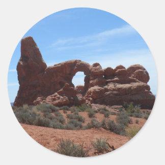 El arco de la torrecilla arquea el parque nacional pegatina redonda