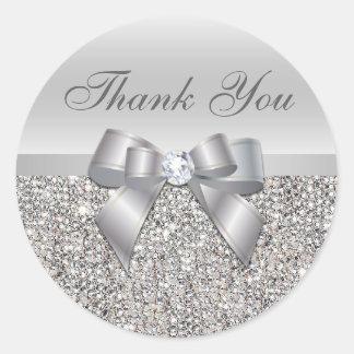 El arco de plata de las lentejuelas le agradece pegatina redonda