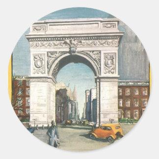 El arco de Washington. Nueva York. Pintura del Etiqueta Redonda