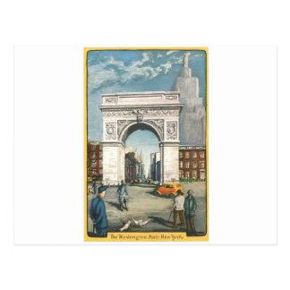 El arco de Washington. Nueva York. Pintura del Postal