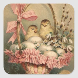 El arco del rosa del polluelo del huevo de la pegatina cuadrada