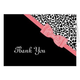 El arco femenino del rosa del estampado leopardo tarjeta pequeña