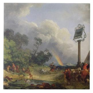 El arco iris, 1784 (aceite en lona) azulejo cuadrado grande