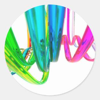 El arco iris abstracto agita en el movimiento pegatina redonda