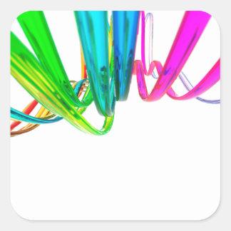 El arco iris abstracto agita en el movimiento pegatina cuadrada