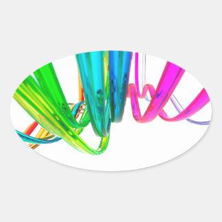 El arco iris abstracto agita en el movimiento pegatina ovalada