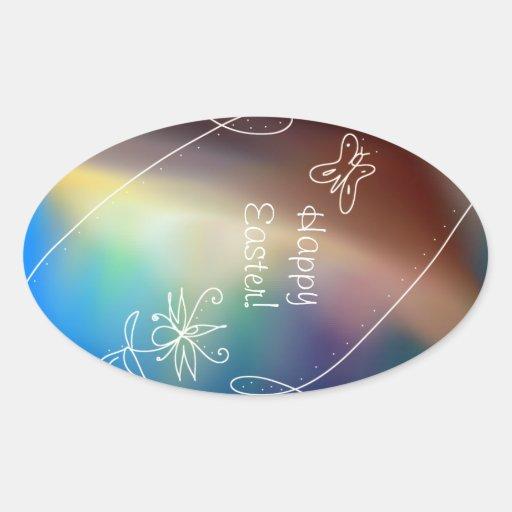 El arco iris adornó al pegatina del huevo de