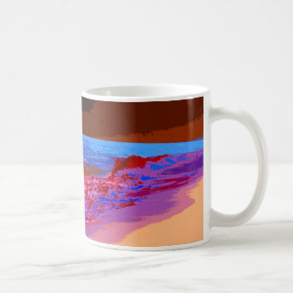 el arco iris agita en rojo de la playa taza básica blanca